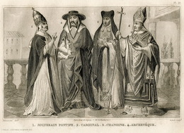 Italy Pope Pontiff Cardinal Priest Fashion Costume Clothing Antique Engraving 1859 - Estampes & Gravures