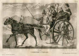 Italy Cabriolet Carriage Faeton Naples Fashion Costume Clothing Antique Engraving 1859 - Prints & Engravings
