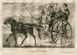 Italy Cabriolet Carriage Faeton Naples Fashion Costume Clothing Antique Engraving 1859 - Estampes & Gravures