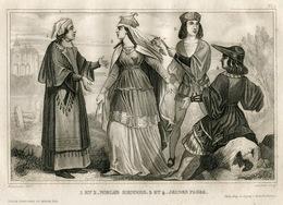 Italy Siena Tuscany Lady Fashion Costume Clothing Antique Engraving 1859 - Estampes & Gravures