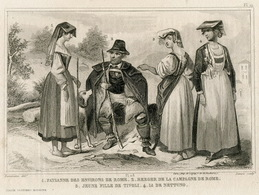 Italy Peasants Shepherd  Fashion Costume Clothing Antique Engraving 1859 - Prints & Engravings
