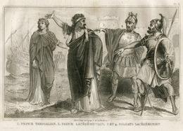 Ancient Greece Sparta Lakedemon King Spartans Ship Fashion Costume Clothing Antique Engraving 1859 - Estampes & Gravures