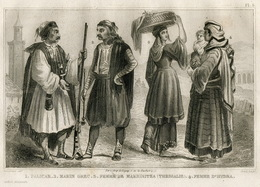 Greece Palikar Mercenary Rifle Sailor Hydra Fashion Costume Clothing Antique Engraving 1859 - Estampes & Gravures