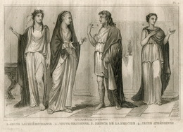 Ancient Greece Antiquity Sparta Troy Athens Fashion Costume Clothing Antique Engraving 1859 - Prints & Engravings