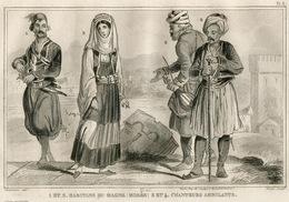 Greece Mercenary Greek Fashion Costume Clothing Antique Engraving 1859 - Estampes & Gravures