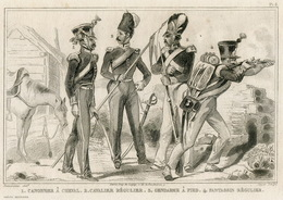 Greece Army Soldier Officer Weapons Fashion Costume Clothing Antique Engraving 1859 - Prints & Engravings