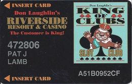 Riverside Casino - Laughlin, NV USA - 4th Issue Slot Card With DLR CP Over Mag Stripe - Printed Player Info - Casino Cards