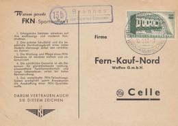 Postkarte 1957, Brennes über Bayerisch Eisenstein Nach Celle - [7] Federal Republic