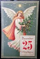 """Cpa Gaufrée  ANGE DE NOEL SAPIN  """" CALENDRIER """" . 1907 . CHRISTMAS ANGEL DECEMBER 25 CALENDAR EMBOSSED OLD PC - Angels"""