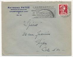 """Enveloppe En Tête """"Raymond PATOZ Médeçin Vétérinaire CHAMPAGNOLE (Jura)"""" OMEC Champagnole Perle Du Jura 1959 - Advertising"""