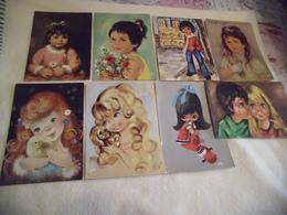 LOT DE 8 ILLUSTRATIONS ..JEUNES ENFANTS .... - Postcards