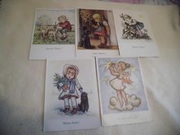 LOT DE 5 ILLUSTRATIONS ..JEUNES ENFANTS ....FETES....SIGNE ARNULF - Postcards