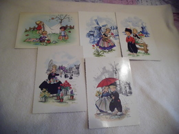 LOT DE 5 ILLUSTRATIONS ..JEUNES ENFANTS .....HOLLANDE...SIGNE FRANKIE - Postcards