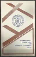 NEPAL - 1985 INTERNATIONAL YOUTH YEAR FIRST DAY FOLDER   SG 467  Sc 440 - Nepal