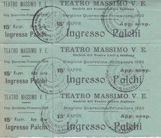 Biglietti (tre)Teatro Massimo Palermo 1920- Viaggiata Italy Italia - Tickets - Vouchers