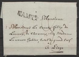 """L. Datée 11 Mars 1824 De NAMUR Pour Comte Félix De Launoy à LIEGE - Griffe """"NAMUR"""" - Port """"3"""" - 1815-1830 (Dutch Period)"""