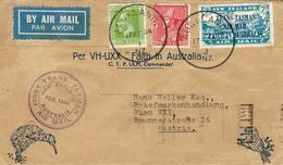 Feb. 1934-first Trans- Tasman From Auckland To Austria  Fr. 8 1/2 D With Y & T Air Mail N°5 - Poste Aérienne