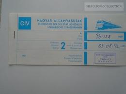 ZA159.4 Railway Ticket -Train - GENEVE -BUDAPEST -Switzerland Hungary 1992 - Transportation Tickets
