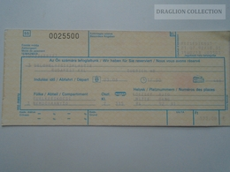 ZA159.5 Railway Ticket -Train - Budapest - Zürich  -Switzerland Hungary 1992 -Sitzplätze  Seating - Transportation Tickets