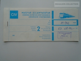 ZA159.7 Railway Ticket -Train  Budapest - GENEVE  - Switzerland Hungary 1992 - Titres De Transport