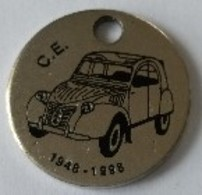Jeton De Caddie - Automobiles - 1948-1998 - Peugeot 203 - Citroën 2 Cv - En Métal - - Trolley Token/Shopping Trolley Chip