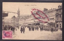 Q0281 - MONS Grand Place - Défilé Militaire Troupe - TP 40c Surcharge 35c - Belgique - Mons
