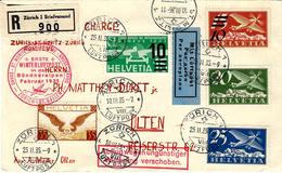 25.II;35 - Zurich-St Moritz - Zurich  Rundflug  Reg. Cover  + CHARGE - Airmail