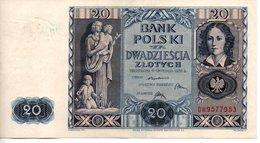 BANK POLSKI  20 ZLOTYCH  1936 - Polen