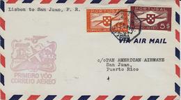 6- 8 Fev.  1941-  LISBOA- SAN JUAN De Porto Rico  -1er Vol  Muller N°25 - Airmail
