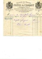 Facture   20x16  PARIS     Maison Du Friand POTEL & CHABOT    Bd Des Italiens-Rue Vivienne  1882    Bon état - Alimentaire
