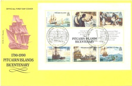 PITCAIRN - 28.4.1989 - FDC - BICENTENARY MUTINY OF THE BOUNTY - Yv 323-328 - Lot 18868 - Pitcairn