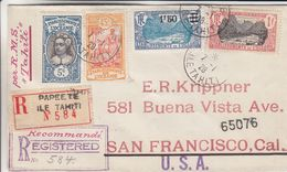 Oceanie - Tahiti - Lettre Recom De 1928 - Oblit Papeete - Exp Vers San Francisco - Par RMS Tahiti - Valeur 106 Euros - Tahiti