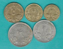 Sudan - AH1403 (1983) - 1 Qirsh (KM97); 2 Qirsh (KM57.2a); 5 Qirsh (KM110.2); 10 Qirsh (KM59.3) & 20 Qirsh (KM98) - Soudan