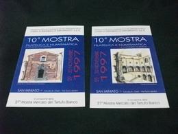 STORIA POSTALE FRANC. DA PORTICELLO ITALIA 10° MOSTRA FILATELICA NUMISMATICA 2 CARTOLINE SAN MINIATO 1997 SAN DOMENICO - Bourses & Salons De Collections