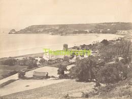 GRANDE PHOTO ALBUMINEE LARGE ANTIQUE VINTAGE ALBUMEN PRINT GROTE ALBUMINE ISLAND OF JERSEY SAINT BREIADE'S BAY - Ancianas (antes De 1900)