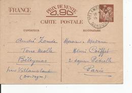 ENTIER POSTAL IRIS SANS VALEUR CP1 Expedié De  BELEYMAS 1941 - Autres