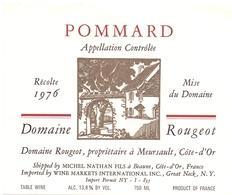 Etiket Etiquette - Vin - Wijn - Bourgogne - Pommard - Domaine Rougeot - 1976 - Bourgogne
