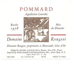 Etiket Etiquette - Vin - Wijn - Bourgogne - Pommard - Domaine Rougeot - 1978 - Bourgogne