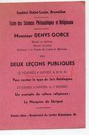 Bruxelles(Belgique) Deux Leçons Publiques Par Mr Denys Gorce 1936 (PPP16793) - Programs