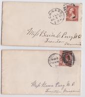 US MAIL COVER CHICAGO ILLINOIS TO TRENTON MISSOURI 1885 - LOT OF 2 LETTERS - 1847-99 Emissions Générales