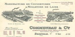 Facture Photo Usines Beauvais & Herchies 1926  / 60 BEAUVAIS / COMMUNEAU / Manufacture Couvertures & Molletons - France