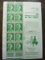 Marianne Type Muller 12F Vert (YT : 1010 C3) 10 Timbres ** MNH - Carnets