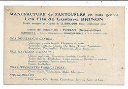 Pussay,prix Revu,usine De Brinonville,pantoufles Brinon - Autres Communes