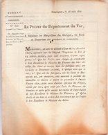 Draguignan, Le 28 Août 1807.Le Préfet Du Département Du VAR à Messieurs Les Marguilliers.3 Pages. - Documents Historiques