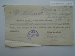 ZA159.14  SOL CLUB  Budapest Hungary  Receipt 1933 - Factures & Documents Commerciaux