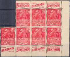FRANCE - Bloc De 7 TP Neuf ** Avec Pub De Carnet : BENJAMIN - N° 272 50c Fachi Rouge Type II - Advertising