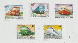 Timbre, République Du TCHAD , Chemin De Fer, Train , LOT DE 5 TIMBRES - Tchad (1960-...)