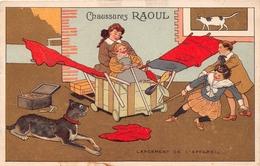 ¤¤  -  Illustrateur  - Carte Publicitaire Des Chaussures RAOUL  -  Avion , Chien   -   ¤¤ - Publicité