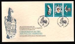New, Nouvelles Hebrides,25e Anniversaire Du Couronnement De Sa Masjesté La Reine Elisabeth II, Oblitération Coq - FDC