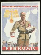 WW II WHW Spendenblatt 1939 / 1940:Adler Mit Hakenkreuz , SA Mann Mit Sammeldose , Februar. Sehr Selten ! - Deutschland